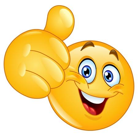 cara sonriente: Emoticon mostrando el pulgar hacia arriba