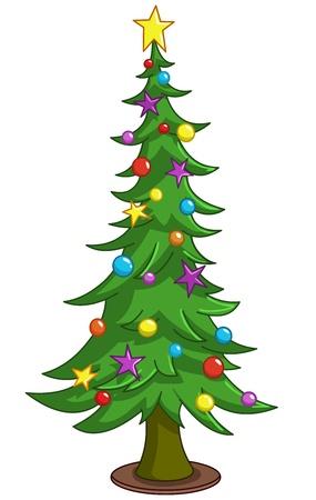 fir tree balls: Cartoon Christmas tree