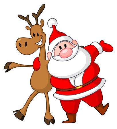 Reindeer and Santa embracing each other Illustration
