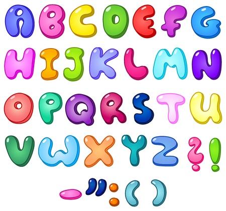 alphabet: 3d bubble geformte Alphabet Satz