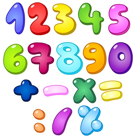 cartoon number: 3d bubble shaped numbers and math signs set