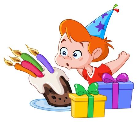 Muchacho del cumpleaños sopla velas Ilustración de vector