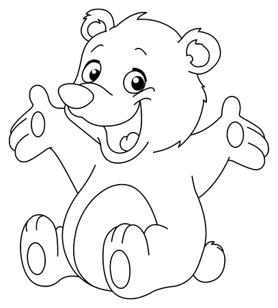 Outlined happy teddy bear raising his arms. Coloring page Vector