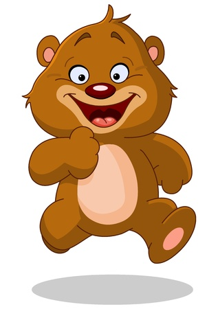 Happy teddy bear running Stock Vector - 17351102