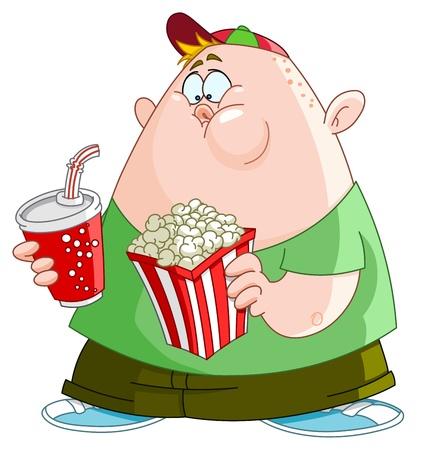 comida chatarra: Chico gordo con palomitas y refresco Vectores