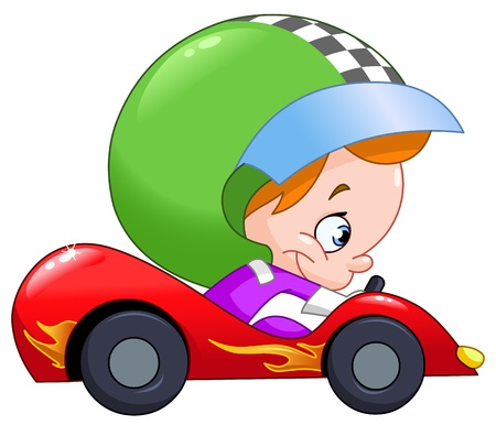 Young kid driving a race car Vector