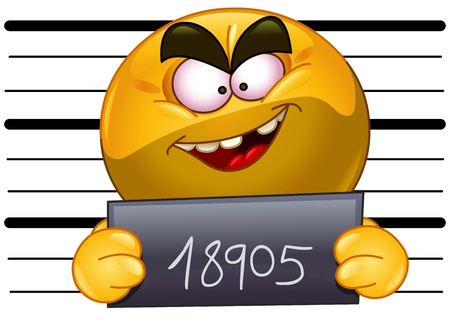 jail: Arrested emoticon with measuring scale in back holding his number posing for a criminal mug shot