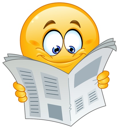 newspaper articles: Emoticon reading a newspaper