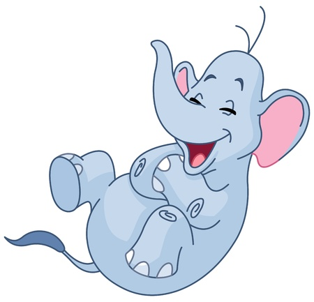 laugh: Elephant rolling on the floor laughing