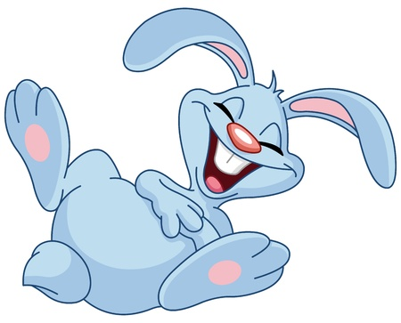 Bunny rolling on the floor laughing Vector