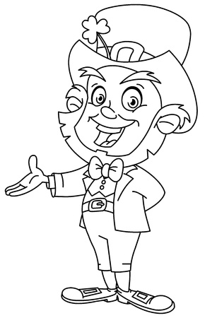 coloring book page: Outlined leprechaun presenting with his hand  Coloring page