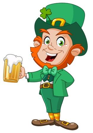 hombre tomando cerveza: Leprechaun con la cerveza