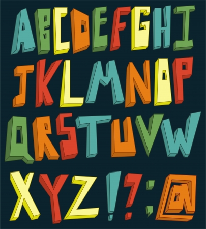 Colorful 3d alphabet set Vector