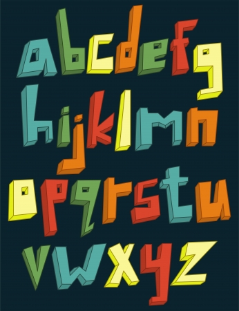 alphabet kids: Colorful 3d lower case alphabet set