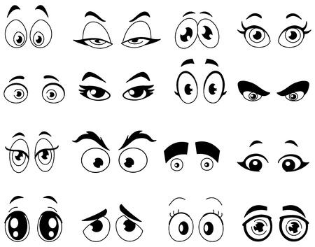 ojos caricatura: Resumido ojos de la historieta fijado