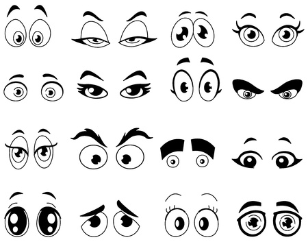 cara sonriente: Resumido ojos de la historieta fijado