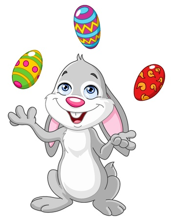 cute rabbit: Happy bunny juggling Easter eggs Illustration