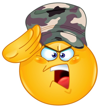 army helmet: Soldier emoticon saluting saying yes sir Illustration