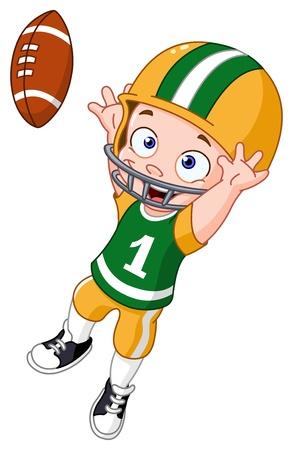 jugando futbol: Chico joven que juega a fútbol americano