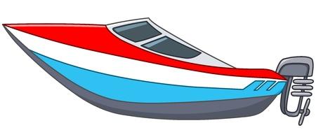 bateau: Bateau � moteur Cartoon Illustration