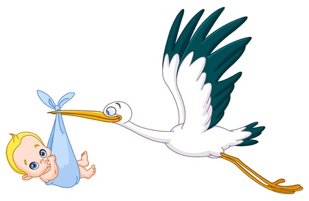 carrying: Stork carrying a baby boy Illustration