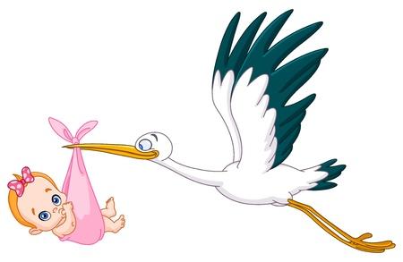 Cigogne portant un bébé fille