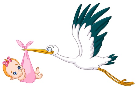 carrying: Stork carrying a baby girl