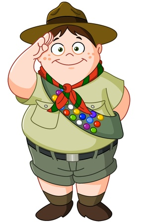 cub: Happy Boy Scout saluting