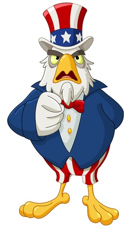 president of the usa: American bald eagle dressed as Uncle Sam pointing with his finger making I want you gesture
