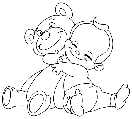 teddybear: Outlined Cheerful baby hugging his teddy bear