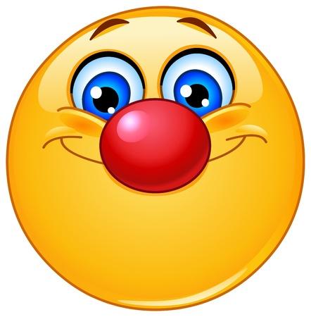 Emoticon con il naso da clown Vettoriali