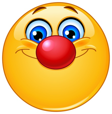 crazy: Emoticon with clown nose