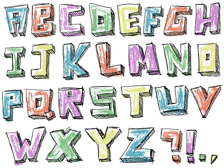 writing letter: Colorful sketchy hand drawn alphabet