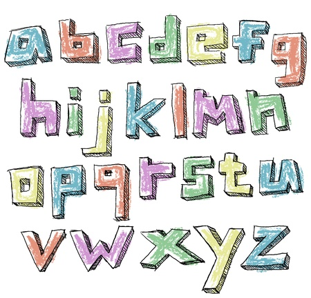 Colorful sketchy hand drawn lower case alphabet Stock Vector - 20240826