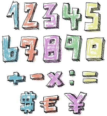Colorful sketchy hand drawn numbers, math and currency signs Vector