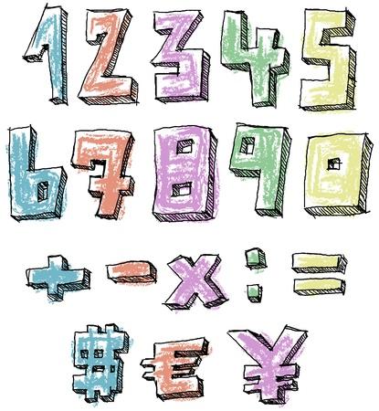 clipart: Signos números dibujados a mano incompletos coloridos, matemáticas y moneda Vectores