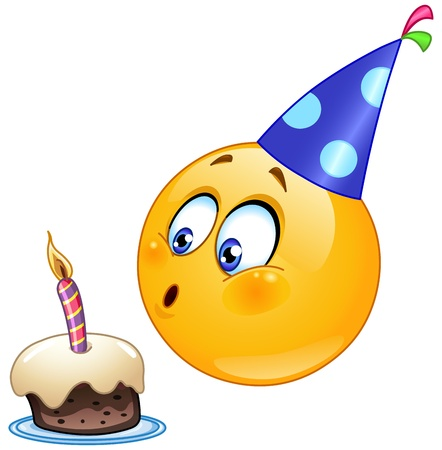happy face: Birthday emoticon blowing cake candle