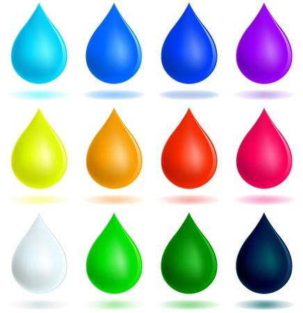 Conjunto de gotas coloridas Ilustración de vector