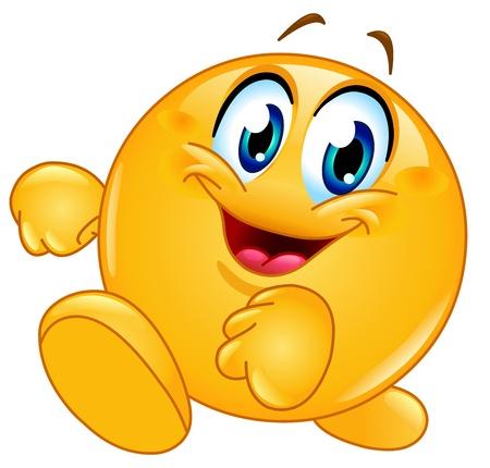 cara sonriente: Feliz emoticono caminar