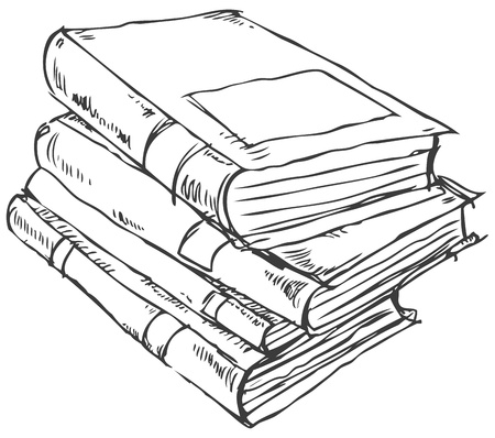 schets: doodle boeken stapel
