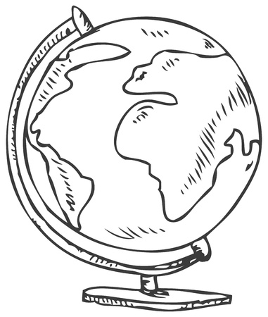 doodle of a world globe stand Vector