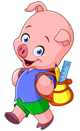 Cute school pig walking with a backpack Vector
