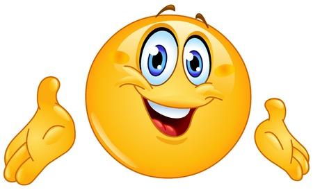 cara sonriente: Emoticon presenta con las manos Vectores