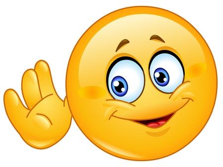 oir: Emoticon sostiene su mano cerca de la cabeza y escuchar algo Vectores