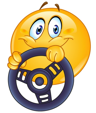 happy emoticon: Driving emoticon holding a steering wheel
