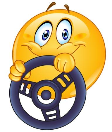 chofer de autobus: Emoticon Conducir sosteniendo un volante Vectores