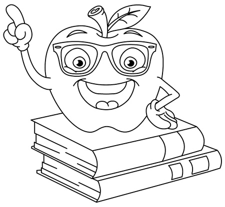 Outlined smart apple pointing with his finger Vector