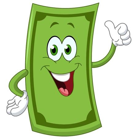 Dollar caricature montrant le pouce Banque d'images - 21701967