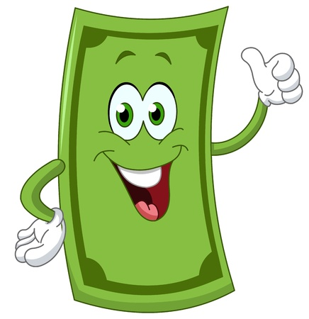 one dollar bill: Dollar cartoon showing thumb up