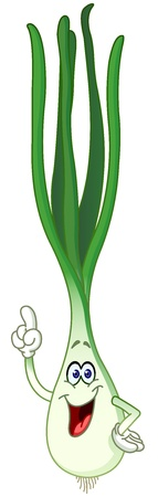 spring onion: Happy cartoon green onion pointing with his finger